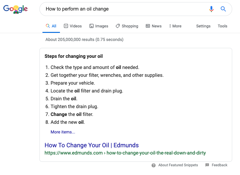 Featured Snippet Example - Blog